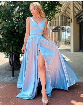 Simple V-neck Light Blue Satin Prom Dress with Side Slit PM1994