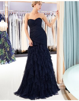 Sweetheart Ruffled Mermaid Style Long Evening Dress QD001