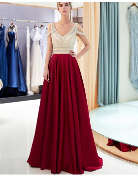 Gorgeous Cold Shoulder V-neck Beading Bodice Satin Evening Dress QD003