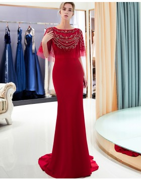Elegant Jewel Neck Red Beading Bodice Mermaid Satin Evening Dress QD004