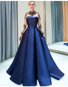 Gorgeous High Neck Beading Royal Blue Pleated Satin Evening Gown with Long Sleeves QD005