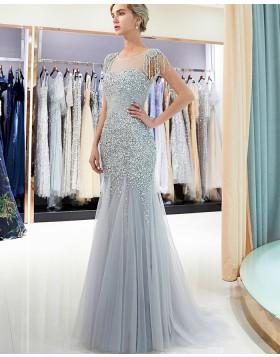 Jewel Beading Sheer Grey Mermaid Evening Dress with Cap Sleeves QD006