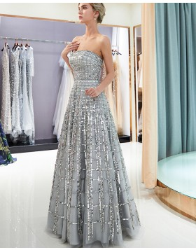 Amazing Strapless Metallic Beading Grey Pleated Evening Dress QD007