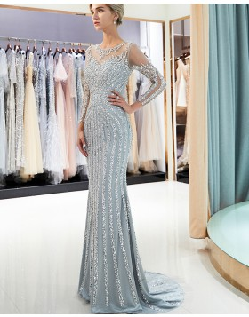 Jewel Sparkle Beading Mermaid Grey Long Sleeve Evening Dress QD008