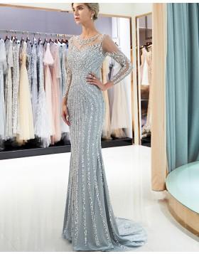 Jewel Sparkle Beading Mermaid Grey Long Sleeve Evening Dress QD008