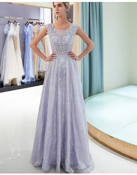 Scoop Lace Beading Sparkle A-line Light Purple Evening Dress QD009