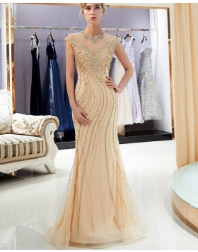 Elegant High Neck Gold Beading Mermaid Evening Dress QD010