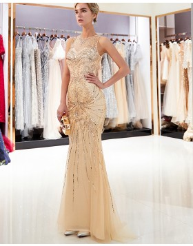 Sparkle Tulle Jewel Gold Beading Mermaid Evening Dress QD011