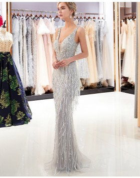 Deep V-neck Sparkle Beading Grey Mermaid Evening Dress QD012