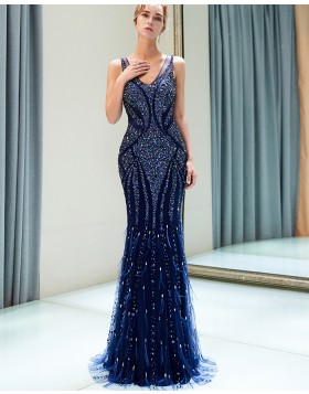 Amazing V-neck Royal Blue Sparkle Beading Mermaid Evening Dress QD013