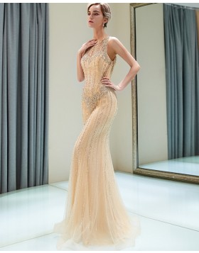 Jewel Gold Beading Tulle Mermaid Style Evening Dress QD014