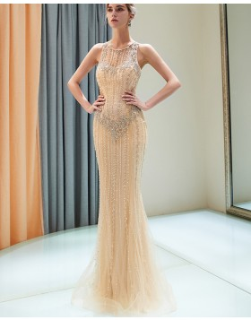 Jewel Gold Beading Tulle Mermaid Style Evening Dress QD014