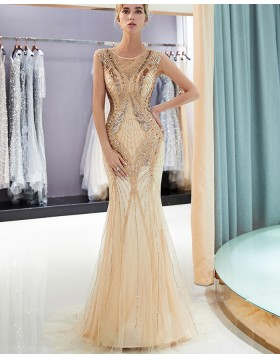 Jewel Gold Sequin and Beading Mermaid Evening Dress QD015