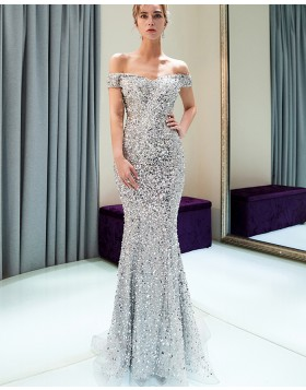 Off the Shoulder Sparkle Beading Silver Mermaid Evening Dress QD016