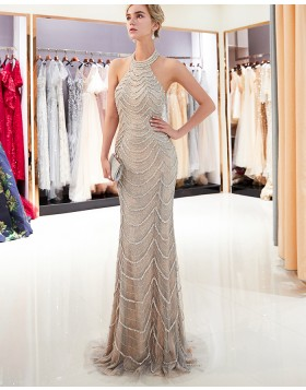 Gorgeous High Neck Beige Beading Sparkle Mermaid Evening Dress QD017