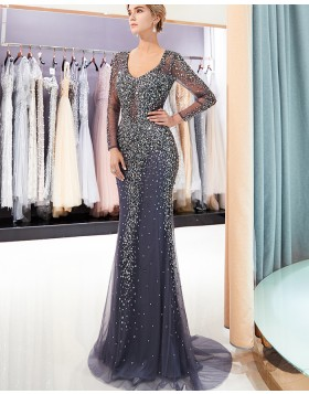 Scoop Blue Bling Beading Mermaid Evening Dress with Long Sleeves QD018