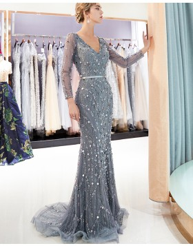 V-neck Sparkle Beading Mermaid Evening Dress with Long Sleeves QD019