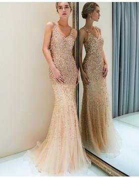 Amazing Square Sparkle Beading Mermaid Tulle Evening Dress QD021