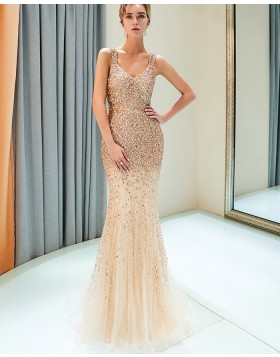 Amazing Square Sparkle Beading Mermaid Tulle Evening Dress QD021