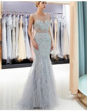 Gorgeous Sheer Neck Grey Sparkle Beading Mermaid Evening Dress QD022
