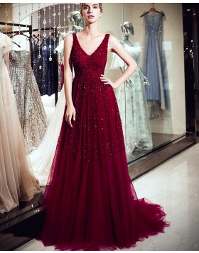 V-neck Burgundy Sparkle Beading Pleated Evening Dress QD023