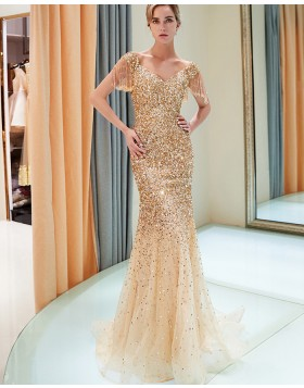 V-neck Sparkle Beading Mermaid Gold Evening Dress with Tassels Sleeves QD024