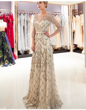 Jewel Neck Champagne Floral Beading Evening Dress with 3/4 Length Sleeves QD025