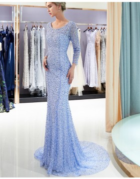 Scoop Blue Bling Beading Mermaid Evening Dress with Long Sleeves QD026