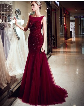 Amazing Bateau Burgundy Beading Mermaid Pleated Evening Dress QD026D