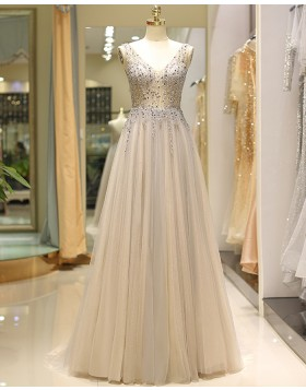 V-neck Beading Bodice Champagne Tulle Pleated Evening Dress QD028