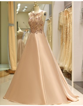 Gorgeous Jewel Beading Bodice Satin Evening Gown QD029