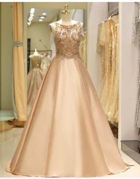 Gorgeous Jewel Beading Bodice Satin Evening Gown QD029