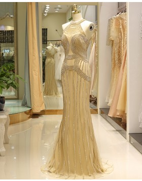 High Neck Gold Beading Mermaid Tulle Evening Dress QD030