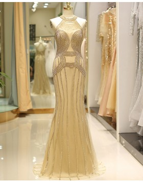 High Neck Gold Beading Mermaid Tulle Evening Dress QD030
