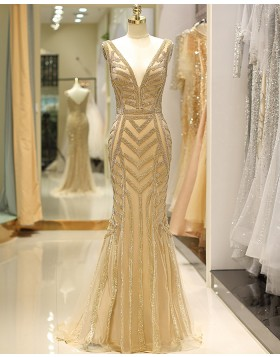 Deep V-neck Beading Gold Mermaid Tulle Evening Dress QD031
