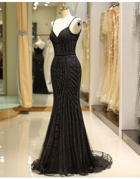Spaghetti Straps Black Beading Mermaid Style Evening Dress QD032