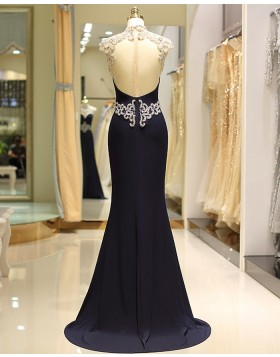High Neck Lace Beading Satin Mermaid Navy Blue Evening Dress  QD033