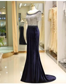 Jewel Beading Lace Navy Blue Mermaid Satin Evening Dress with Short Sleeves QD034