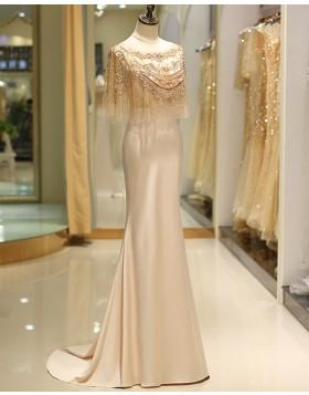Amazing Bateau Gold Beading Flower Mermaid Satin Evening Dress QD035