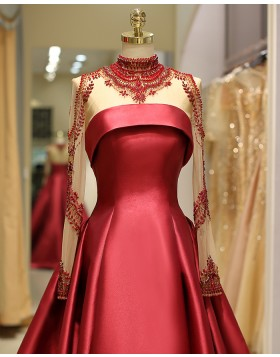 High Neck Beading Bodice Satin Red Pleated Evening Gown with Long Sleeves QD036