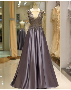 Elegant Jewel Beading Bodice Pleated Satin Evening Dress QD037