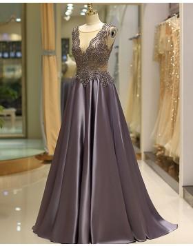 Elegant Jewel Beading Bodice Pleated Satin Evening Dress QD037