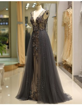 Deep V-neck Beading Evening Dress with Grey Tulle Skirt QD038