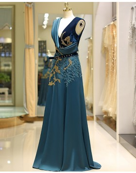 V-neck Gold and Green Beading Satin Evening Dress QD039