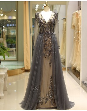 V-neck Long Sleeve Beading Evening Dress with Tulle Skirt QD040