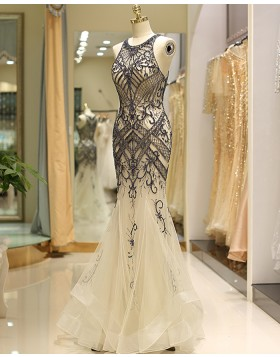 Gorgeous Beading Jewel Gold Tulle Mermaid Evening Dress QD041