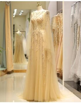 Long Sleeve Beading Jewel Pleated Tulle Evening Dress QD042