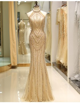 Gorgeous High Neck Gold Beading Mermaid Style Evening Dress QD043