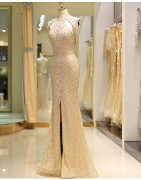 Gorgeous Gold High Neck Beading Tulle Evening Dress with Front Slit QD044