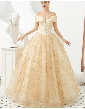 Gorgeous Off the Shoulder Champagne Sequin Ball Gown Evening Dress